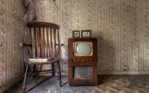 Картинка фон, телевизор, стул
