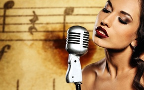 Картинка Girl, Brunette, Background, Singer, Makeup, Microphone, Sheet Music