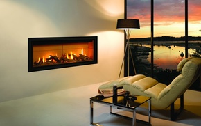 Картинка комната, интерьер, кресло, камин