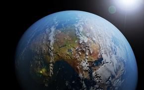 Картинка Солнце, Космос, Земля, Мир, World, Space, Render, Sun