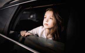 Картинка авто, взгляд, девочка, City of childhood