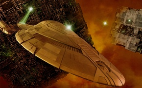 Обои корабль, вояджер, конфликт, база, железо, космос