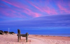 Обои песок, пляж, скамейка, побережье, дорожка, Атлантический океан, Atlantic Ocean