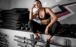 Картинка Dani, спортзал, пресс, фитнес, волосы, инвентарь, лицо, спортивная