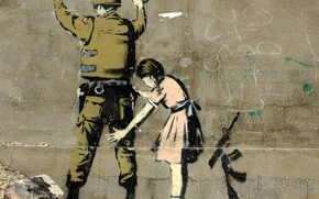 Картинка Graffiti, Banksy, Girl Searching a Soldier