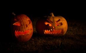Картинка трава, свет, ночь, праздник, тыквы, light, grass, halloween, night, holiday, 2560x1600, свечки, candles, pumpkins