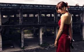 Картинка девушка, пистолет, платье, в красном, Resident Evil