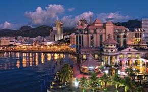 Картинка город, пристань, вечер, Mauritius, carousel, Port Louis