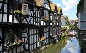Картинка Англия, Дома, канал, England, canal, Кентербери, Canterbury