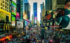 Картинка город, движение, люди, улица, здание, мегаполис, суета