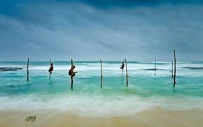 Картинка море, Шри-Ланка, Коггала, рыбаки на ходулях