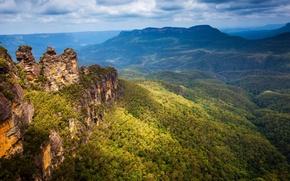 Картинка Blue, Mountain, Australia, parks, crag, natuee.