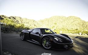 Картинка Porsche, Black, Spyder, 918, eGarage