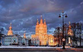 Картинка Деревья, Фонарь, Санкт-Петербург, Смольный собор