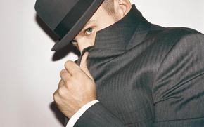 Обои глаза, шляпа, мужчина, парень, актёр, пиджак, певец, танцор, композитор, продюсер, Justin Timberlake, Джастин Тимберлейк, не ...