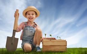 Картинка Небо, Ребенок, Девочка, Шляпа, Улыбка Дети