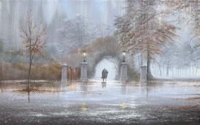 Картинка осень, парк, дождь, картина, фонари, арка, двое, Jeff Rowland