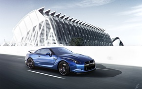 Картинка Nissan, GT-R, Car, Blue, Front, Sport, Road