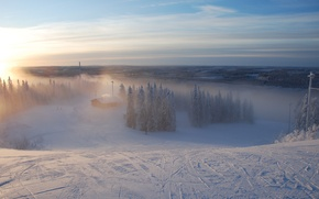 Обои туман, лес, Зима, лыжня