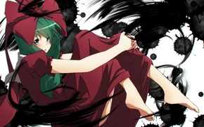 Обои девушка, аниме, арт, бант, touhou, kagiyama hina, aono meri