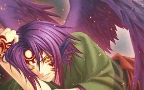Картинка крылья, демон, искры, art, печать, hiiro no kakera, yone kazuki, ёкай, багровые осколки, mahiro atori