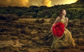 Картинка цветок, девушка, природа, модель, роза, платье, азиатка