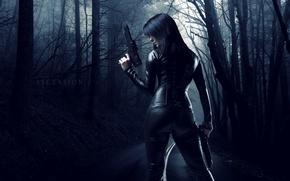 Картинка дорога, девушка, оружие