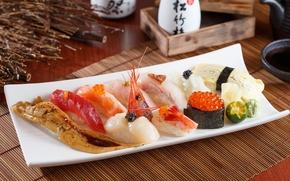 Картинка рыба, лайм, рис, икра, суши, креветки, морепродукты