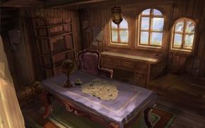 Картинка стол, карта, арт, стул, глобус, каюта