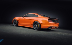 Картинка Mustang, Ford, Orange, RTR, Tuning, Rear, 2015