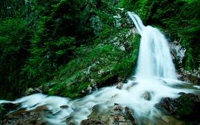 Картинка зелень, вода, камни, Водопад