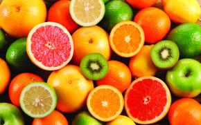 Обои киви, фрукты, лимоны, грейпфруты, апельсины