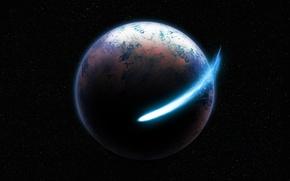 Картинка небо, космос, земля, планеты, планета, звёзды, кометы