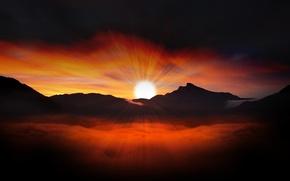 Обои облака, рассвет, небо, солнце, горы, лучи