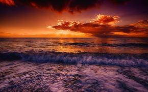 Картинка море, тучи, волны, прибой, зарево, небо, берег