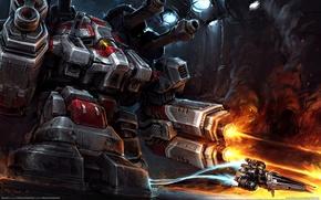 Картинка девушка, робот, бой, starcraft 2, боевой