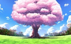 Обои дерево, upscale, арт, пейзажи, природа, аниме