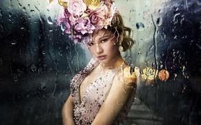 Картинка стекло, девушка, капли, азиатка