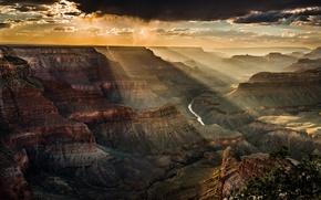 Картинка небо, свет, тучи, скалы, каньон, США