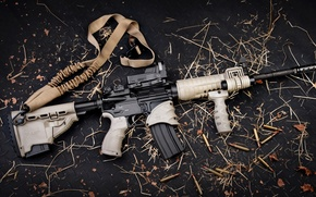 Картинка gun, logo, weapon, leaves, rifle, konoha, AR-15, ammunition, AR 15, bandolier, semi-automatic, tactical flashlight, Sylver …