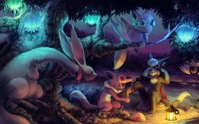 Обои лес, огни, помощь, лиса, фонарь, Звери, уши, кусты, слёзы