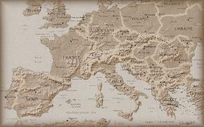 Обои Европа, Карта, Под старину, Вид сверху