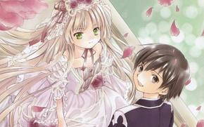 Картинка цветы, бусы, белое платье, фата, art, свадьба, gosick, victorica de blois, kujou kazuya, hinata takeda