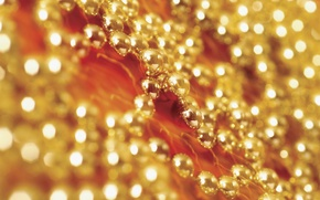 Картинка украшения, сияние, праздник, блеск, новый год, золотой, позолота, бусины, размыто, боке, обои от lolita777