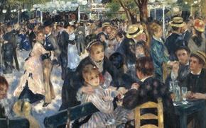 Картинка блики, люди, Париж, танец, ресторан, живопись, франция, искусство, импрессионизм, france, art, бал, paintings, Монмартр, impressionism, …