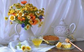 Картинка summer, honey, life, flowers, sweets, wild, still