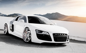 Обои белый, небо, горы, Audi, ауди, тюнинг, суперкар, диски, tuning, передок, V10, в10