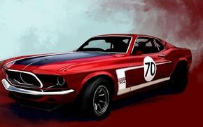 Обои красный, Boss 302, рисунок, Mustang, Ford