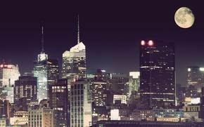 Картинка ночь, город, луна, нью йорк