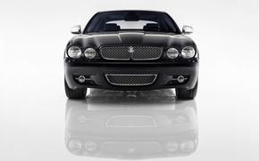 Картинка Jaguar, Отражение, Решетка, Фары, Передок